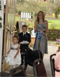 A darling flower girl, a ring bearer and the special attendant Hannah for: Tat, the K-9 of Honor