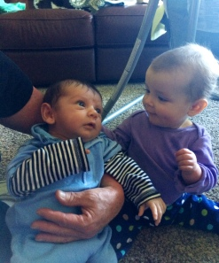 The grandbabies that thriving. 4-week-old Robert and 8-month-old Kaedence.