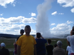 Old Faithful - Of Course! But a picture doesn't add the pressure pops as the water spews high, or the thumping of steaming drops as they pour onto the rocks.