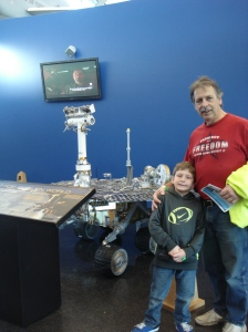Grandpa introducing Kiernan to the Mars Rover - and lots of other aviation and space history.